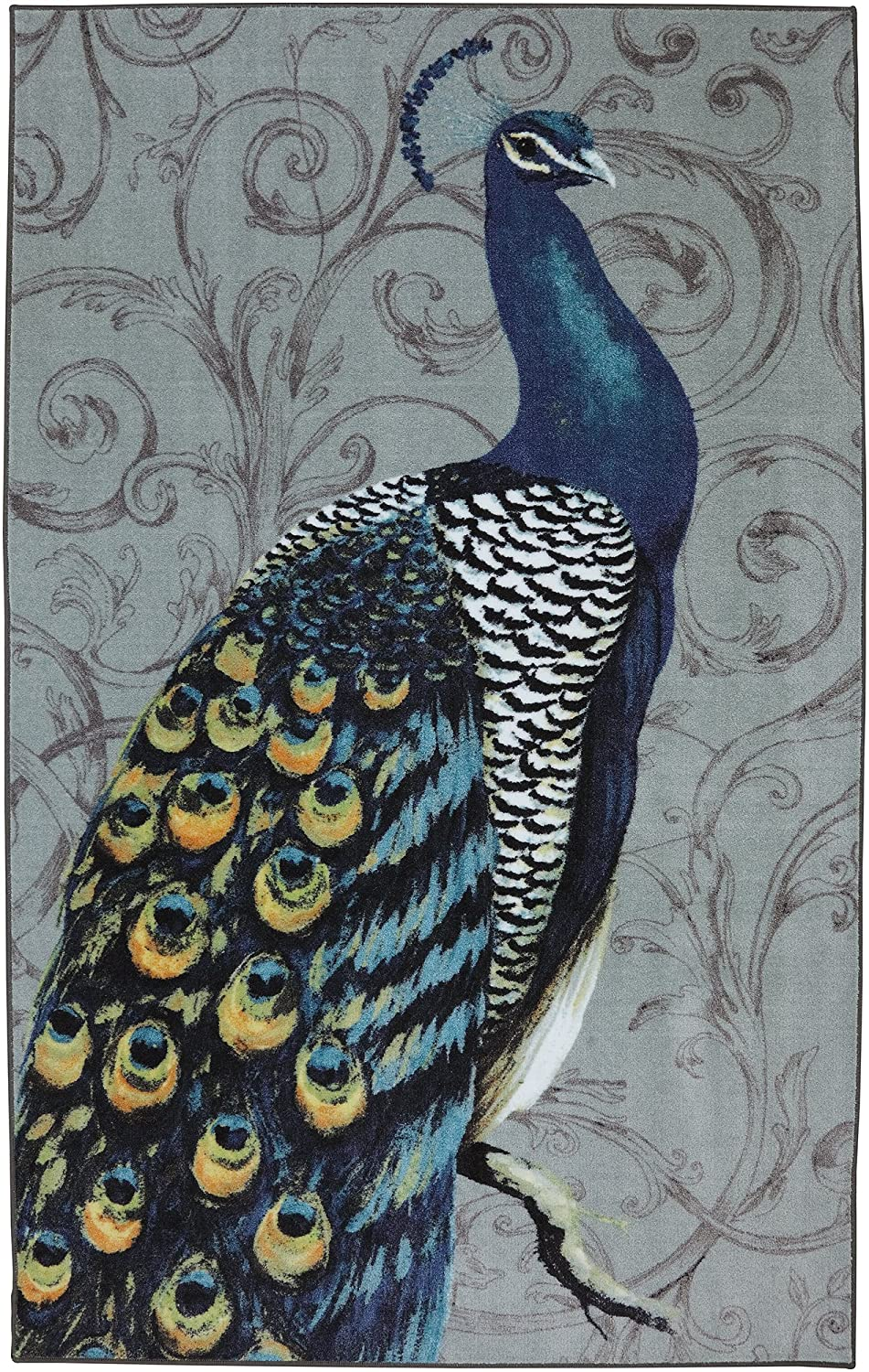 Peacock bathroom rug - Amazon Com Mohawk Home New Wave Peacock Feathers Printed Area Rug 5 X8 Grey Kitchen Dining