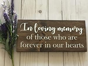 PotteLove Rustic Wooden Plaque Wall Art Hanging Sign in Loving Memory Sign Wedding Sign in Loving Memory Wood Sign Wood Signs Wedding Reception Loved Ones Sign in Memory Sign Reception Decor 12