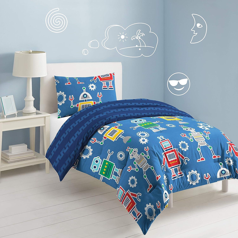 dream FACTORY Robots & Bits Comforter Set, Twin, Blue