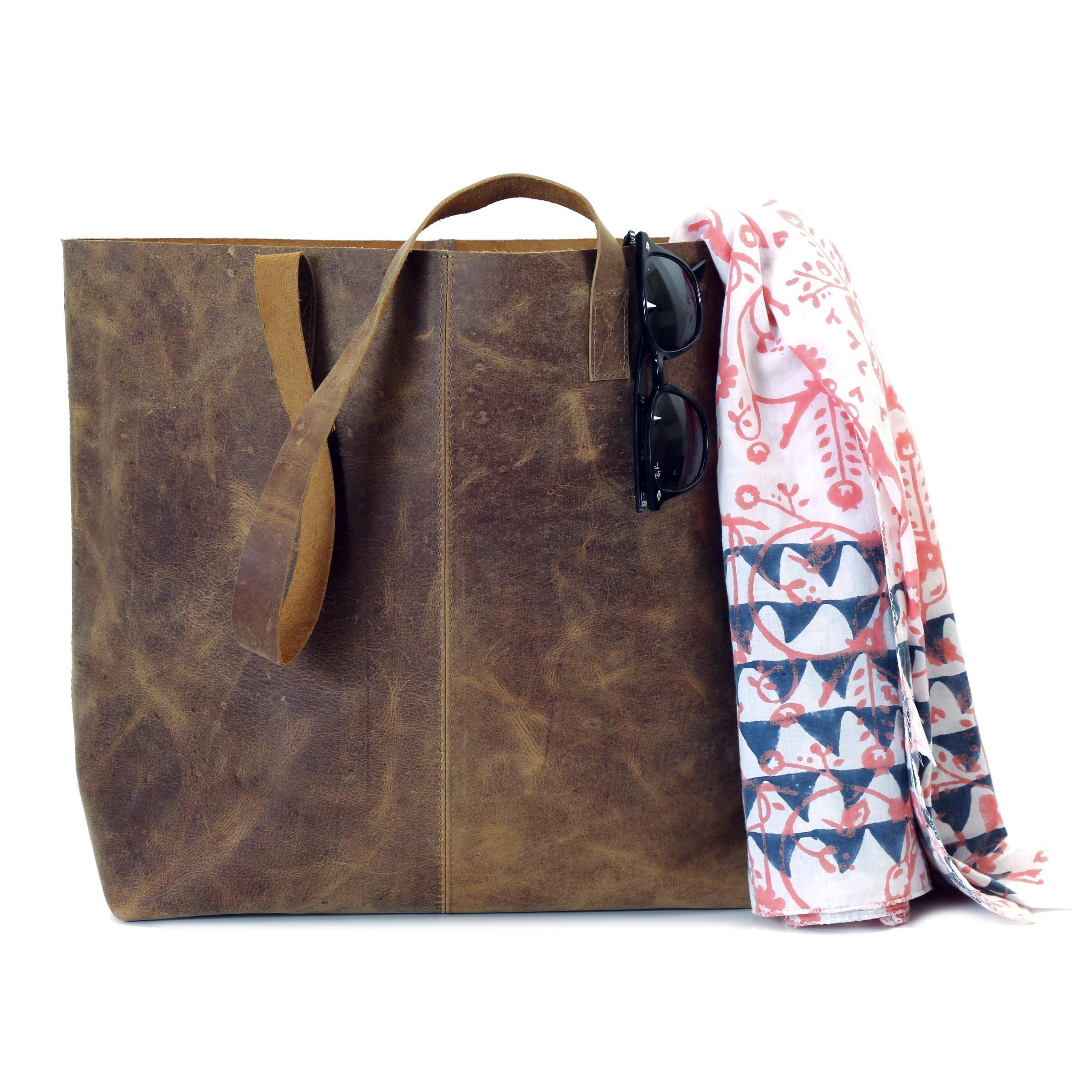 Large Distressed Leather Tote Shopping Bag with Handles Women