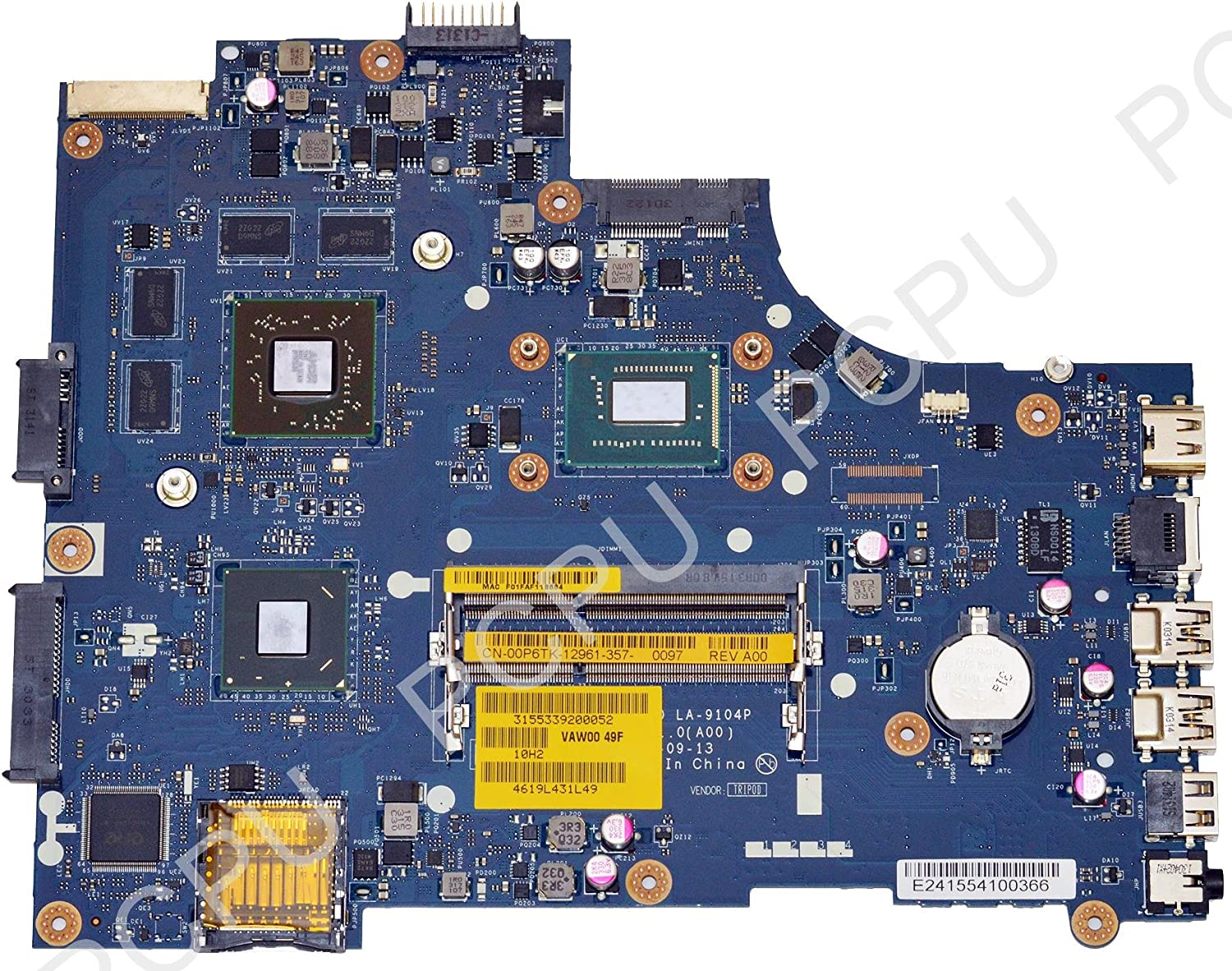 0P6TK Dell Inspiron 15 3521 Laptop Motherboard w/Intel i3-3227u 1.9Ghz CPU, VAW00