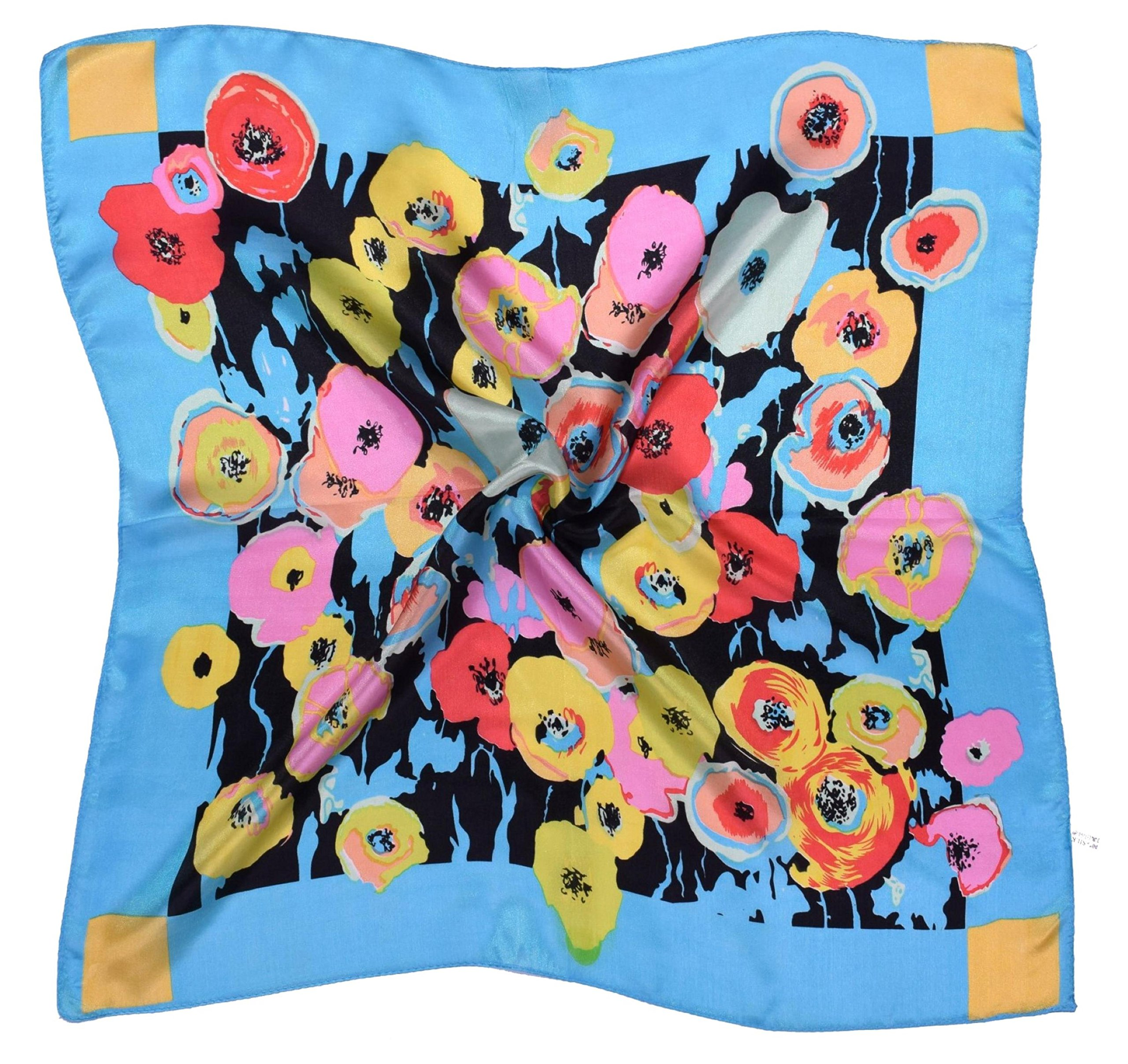 Blue Red Pink Flower Printed Fine Small Square Silk Scarf