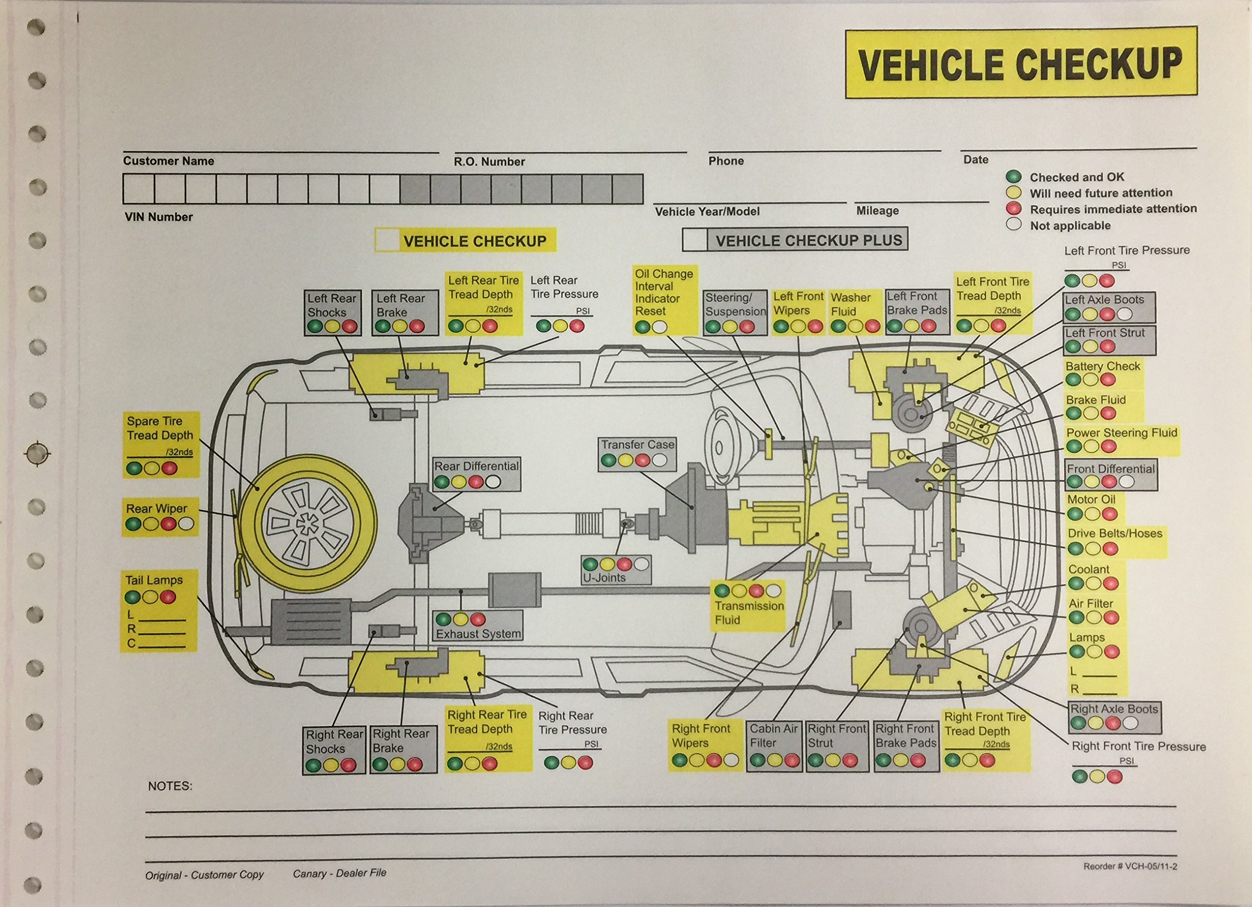 Auto Repair Vehicle Checkup Inspection Form - 2 Part NCR - Quantity 400 (P10R)