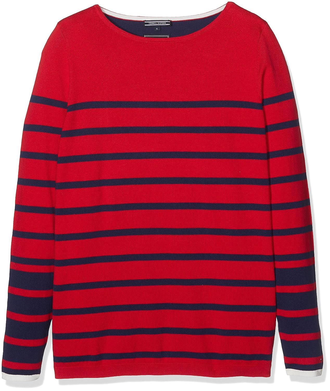 Tommy Hilfiger Damen Sweatshirt Icons Ivy Stp Boat-Nk Swtr