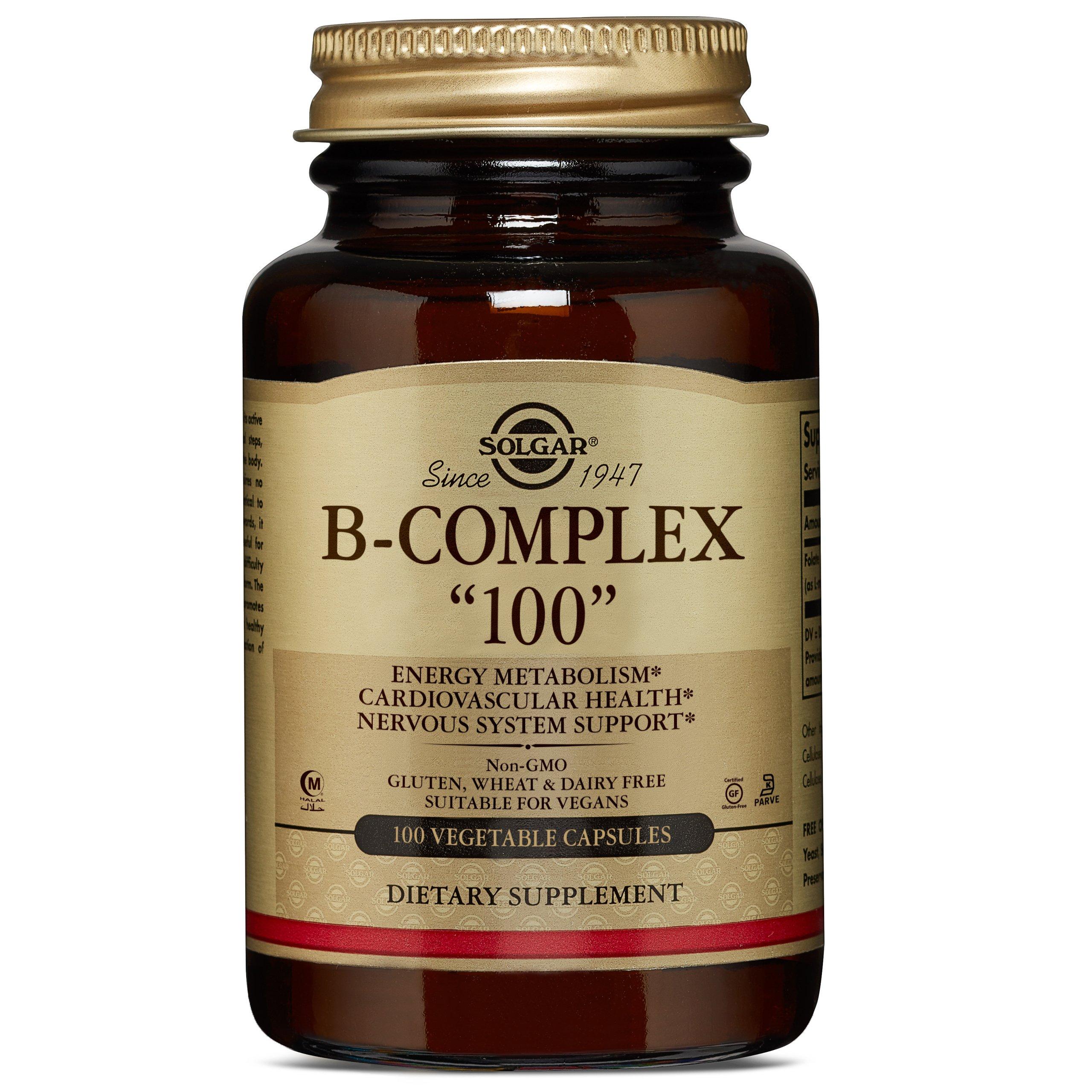 """Solgar B-Complex""""100"""", Energy Metabolism, Non-GMO, 100 Vegetable Capsules"""