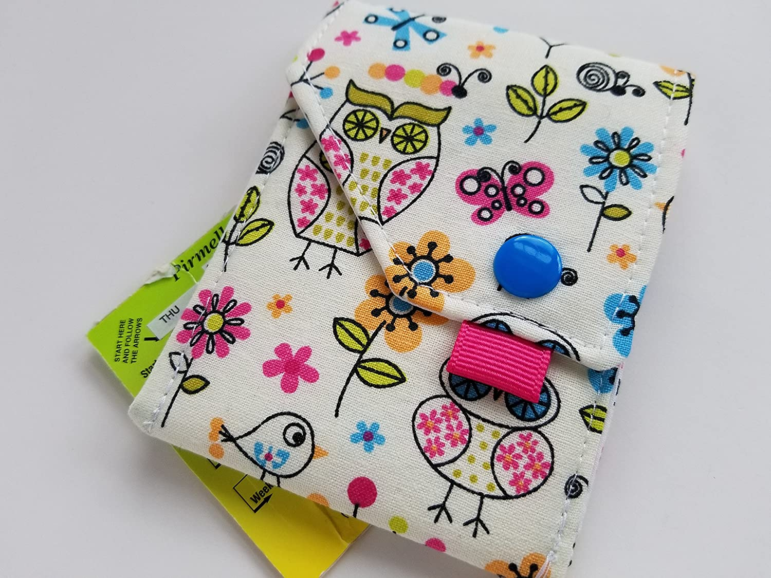 Birth Control Case Sleeve with Snap Closure and Optional Keychain Clip -Little critters