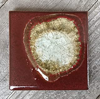 product image for Geode Crackle Coaster in Brick, Individual Coaster, Geode Coaster, Agate Coaster, Fused Glass Coaster, Crackle Glass Coaster, Dock 6 Pottery Coaster, Dock 6 Pottery, Kerry Brooks Pottery