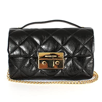 Amazon.com  Michael Kors Black Michael Sloan Small Quilted Messenger New   Shoes 0e1441ae6a6cb