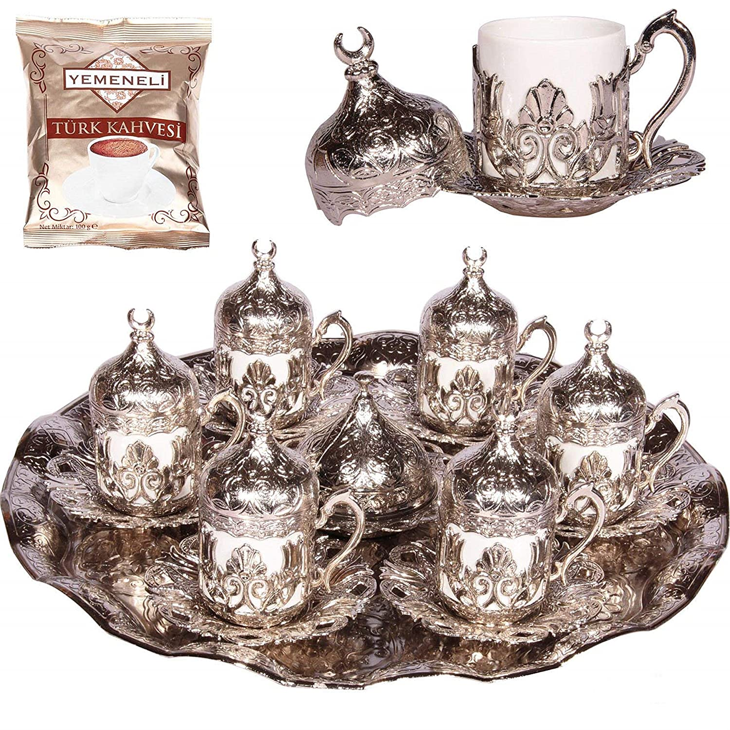 Alisveristime 27 Pc Ottoman Turkish Greek Arabic Coffee Espresso Serving Cup Saucer (Flower) 131977784299