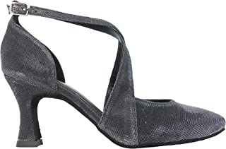 Ritmo Latein Salsa Rumba Tango Damen Tanz Schuhe VL135 mit Chromledersohle, Absatz 7 cm