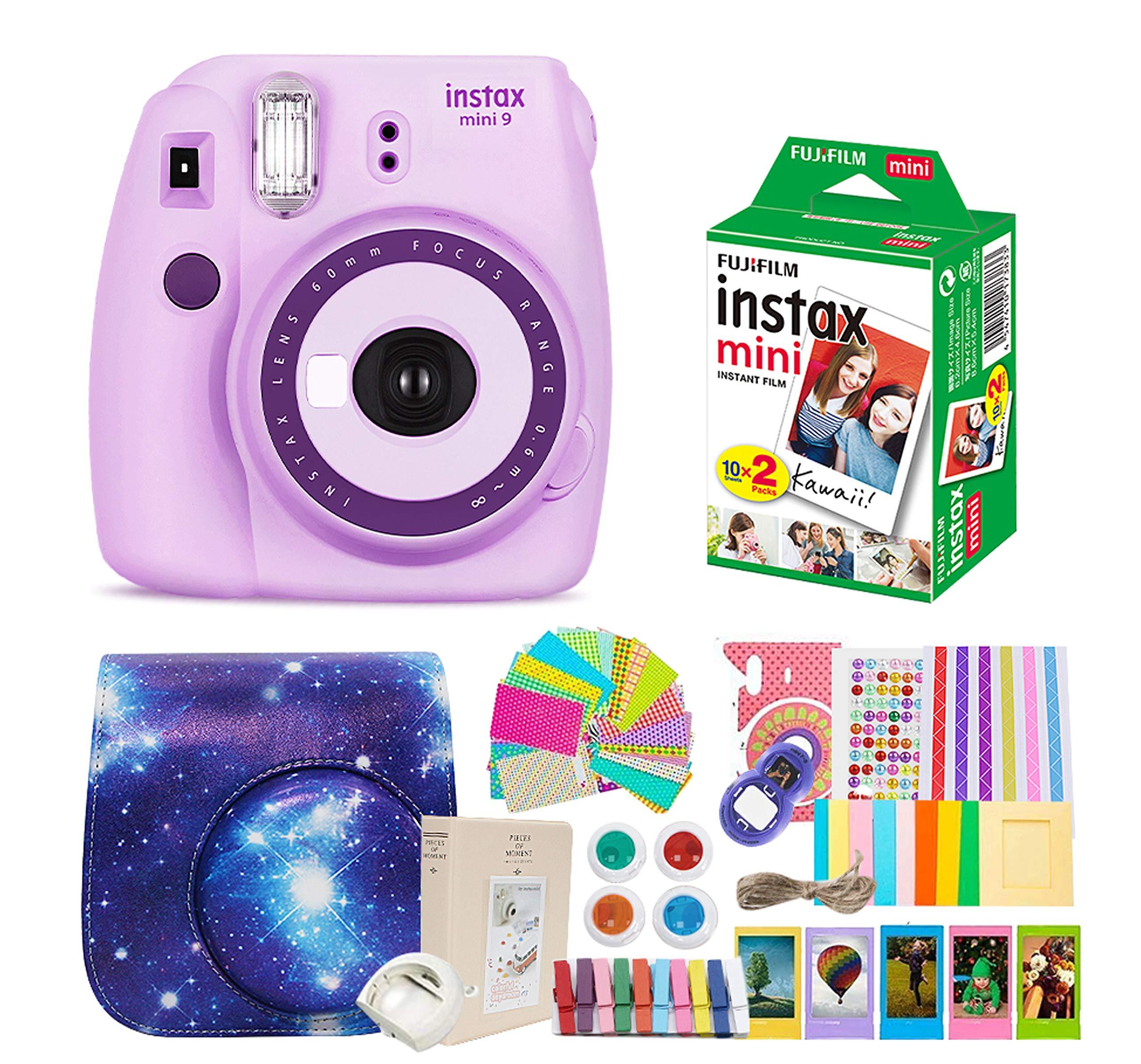 Fujifilm Instax Mini 9 Camera + Fujifilm Instax Mini Camera + Camera Instax Mini 9 Purple+ Instax Mini 9 Case + Instax Accessories Kit Bundle, Instant Camera Gift Sets - Light Purple by Nishow