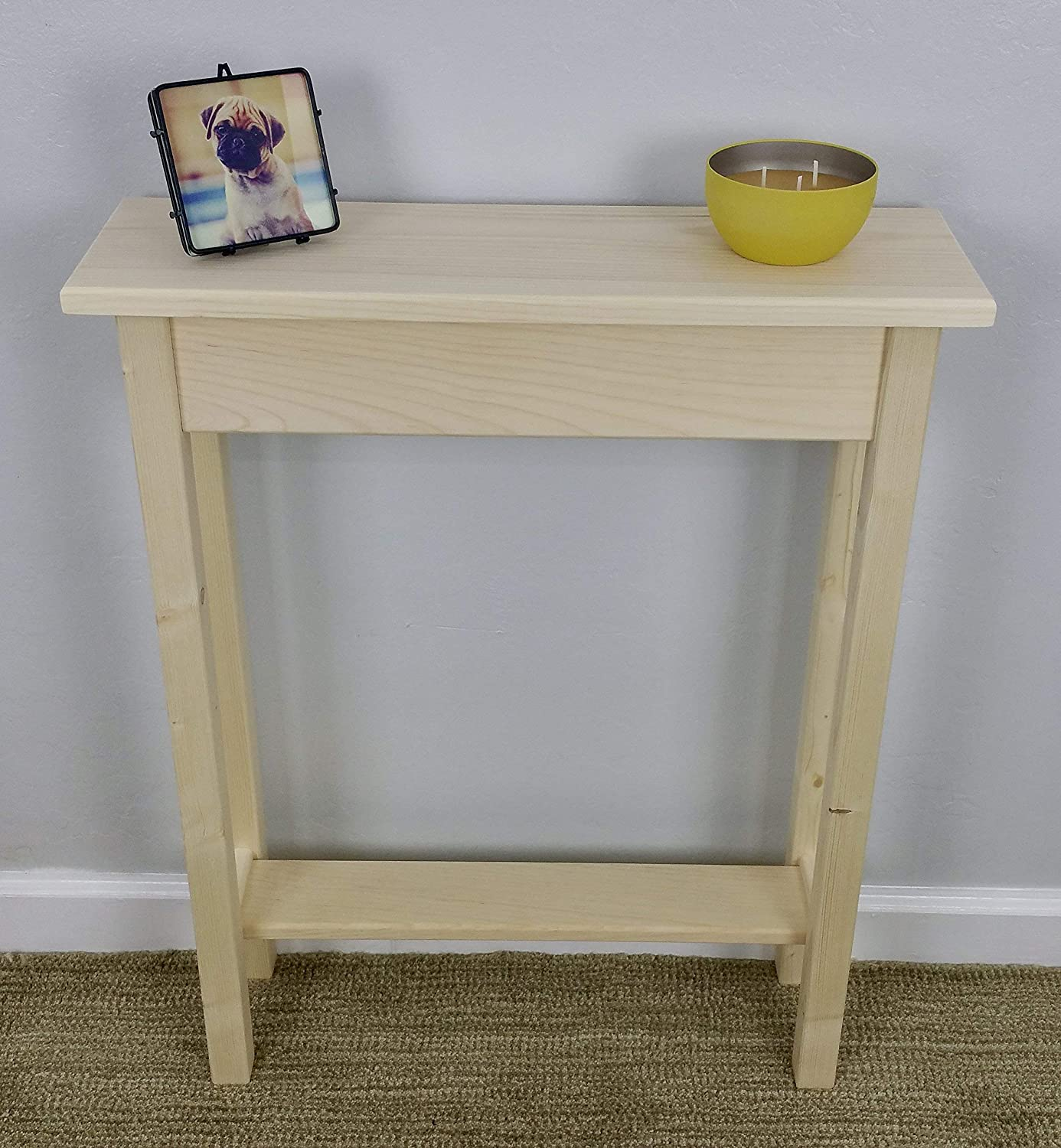 Marvelous 24 Unfinished Pine Narrow Wall Foyer Sofa Console Hall Table With Bottom Shelf Andrewgaddart Wooden Chair Designs For Living Room Andrewgaddartcom