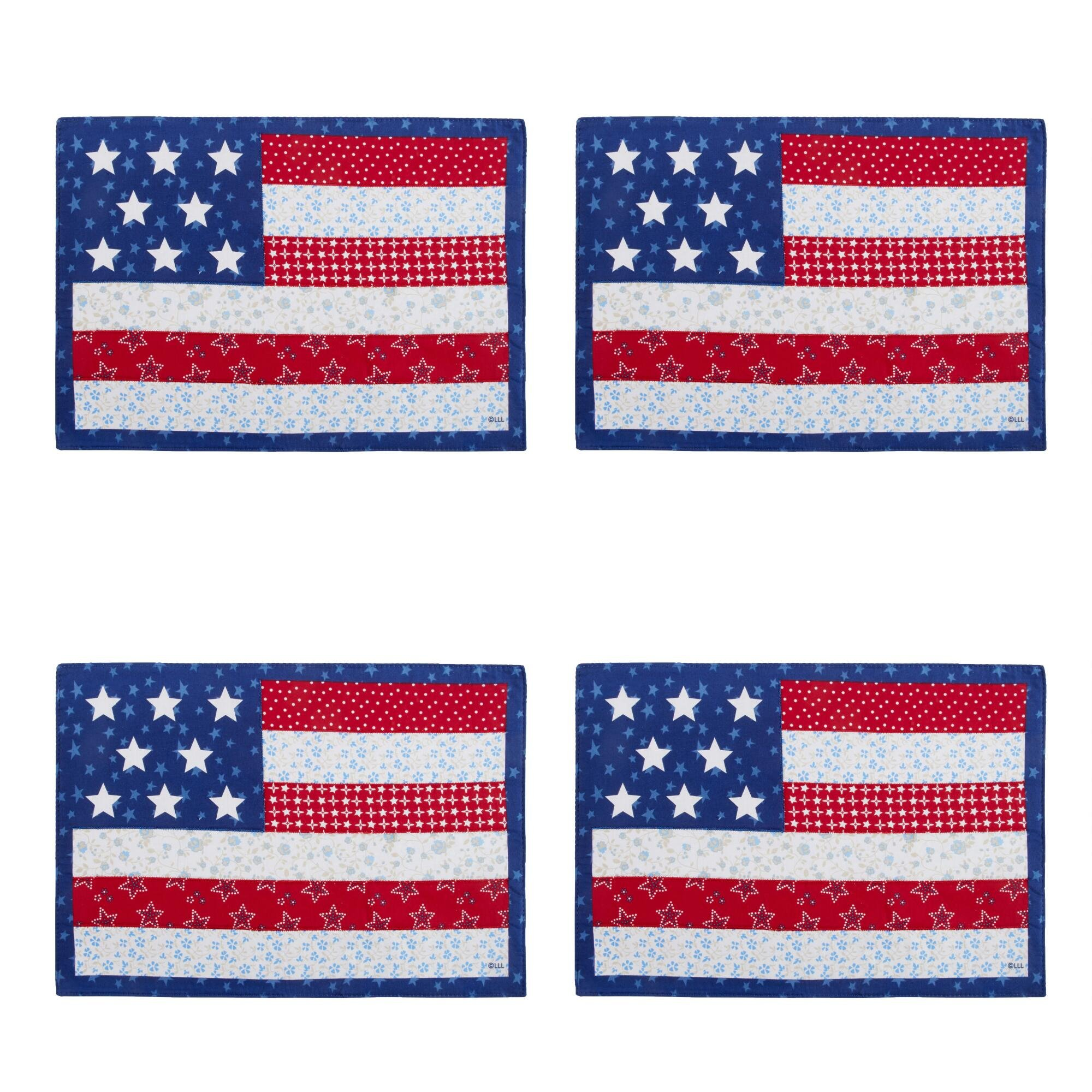 Nantucket Home Patriotic Stars and Stripes Applique Cotton Blend Placemats, Set of 4