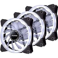 EZDIY-FAB 120mm PWM White Single Ring Fan, White LED PWM Case Fan for PC Case, High Airflow Quiet and Radiators(4-Pin…