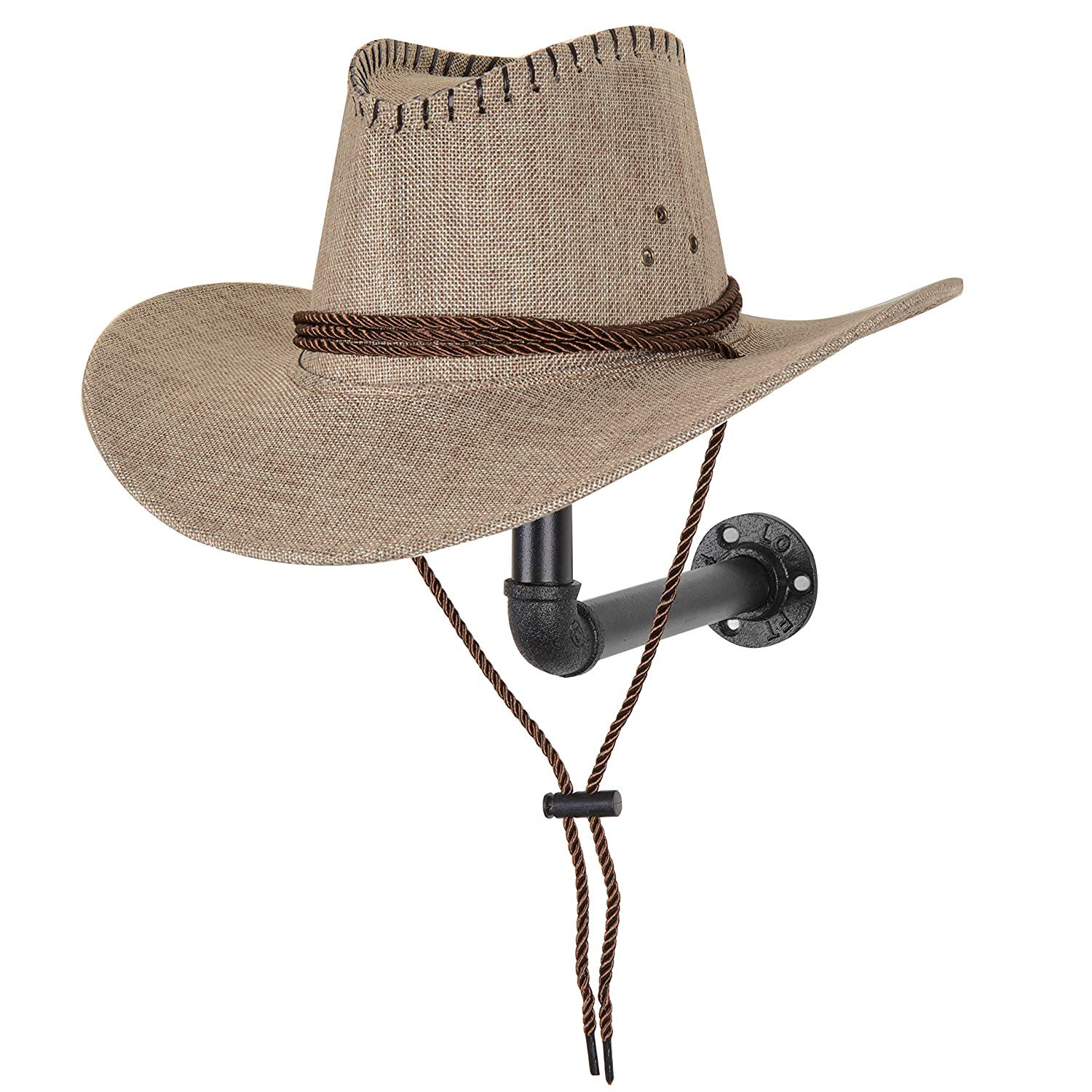 MyGift Metal Pipe /& Wood Wall-Mounted Hat /& Wig Holder