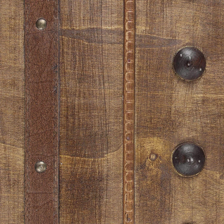 sangle et poign/ée en simili-cuir de couleur assorti bois brun d/écor/é de garniture et de fermetures en m/étal Coffre colonial grand mod/èle d/éco nostalgique de globetrotteur