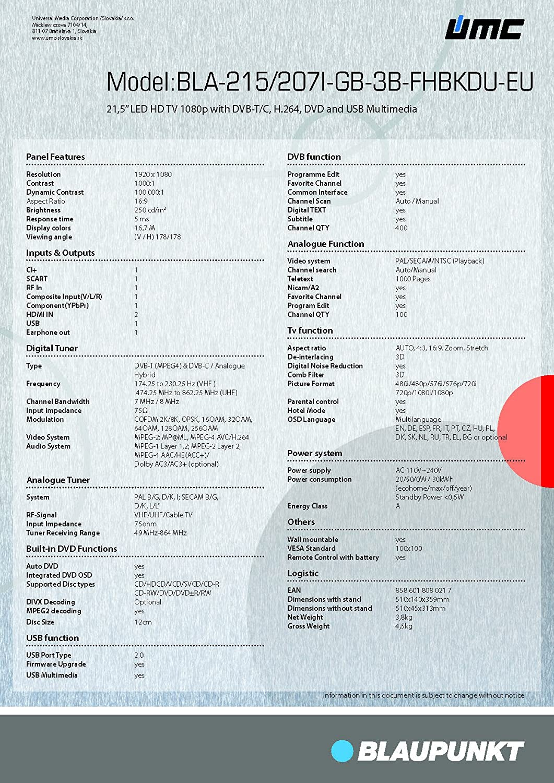 Original Fernbedienung Blaupunkt 215//155I-GB-1B-FHBKDU-EU Neu
