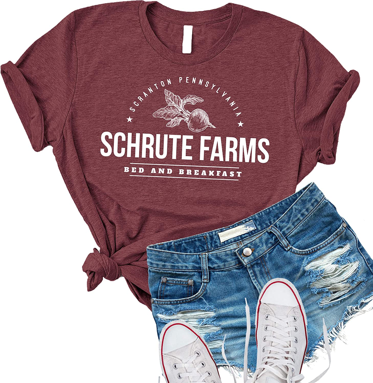 Schrute Farms Bed /& Breakfast Printed T-Shirt Top Ladies Mens Boys Tee Shirt