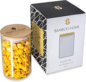 Glass Food Storage Container with Airtight Bamboo Lid by Bamboo Home - Premium Quality Glass Jars for Pantry Organization - Kitchen Canisters for Cookie, Candy, Rice, Sugar, Flour, Pasta, Coffee, Spice Jars (Medium, 32 oz)
