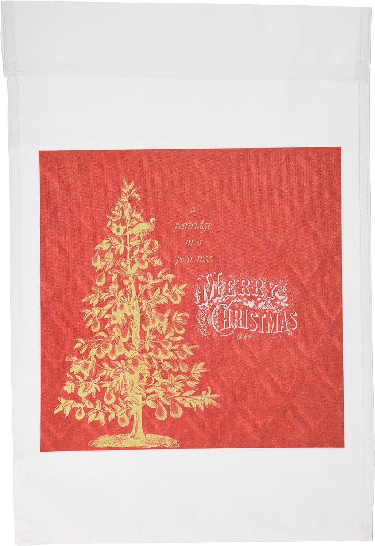 3dRose fl_99191_1 Partridge in a Pear Tree-Christmas Vintage Art Garden Flag, 12 by 18-Inch