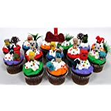 """MINECRAFT 24 Piece Birthday CUPCAKE Topper Set Featuring Mini Minecraft Figures and Decorative Themed Accessories, Figures Average 1/2"""" to 1"""" Inch Tall"""