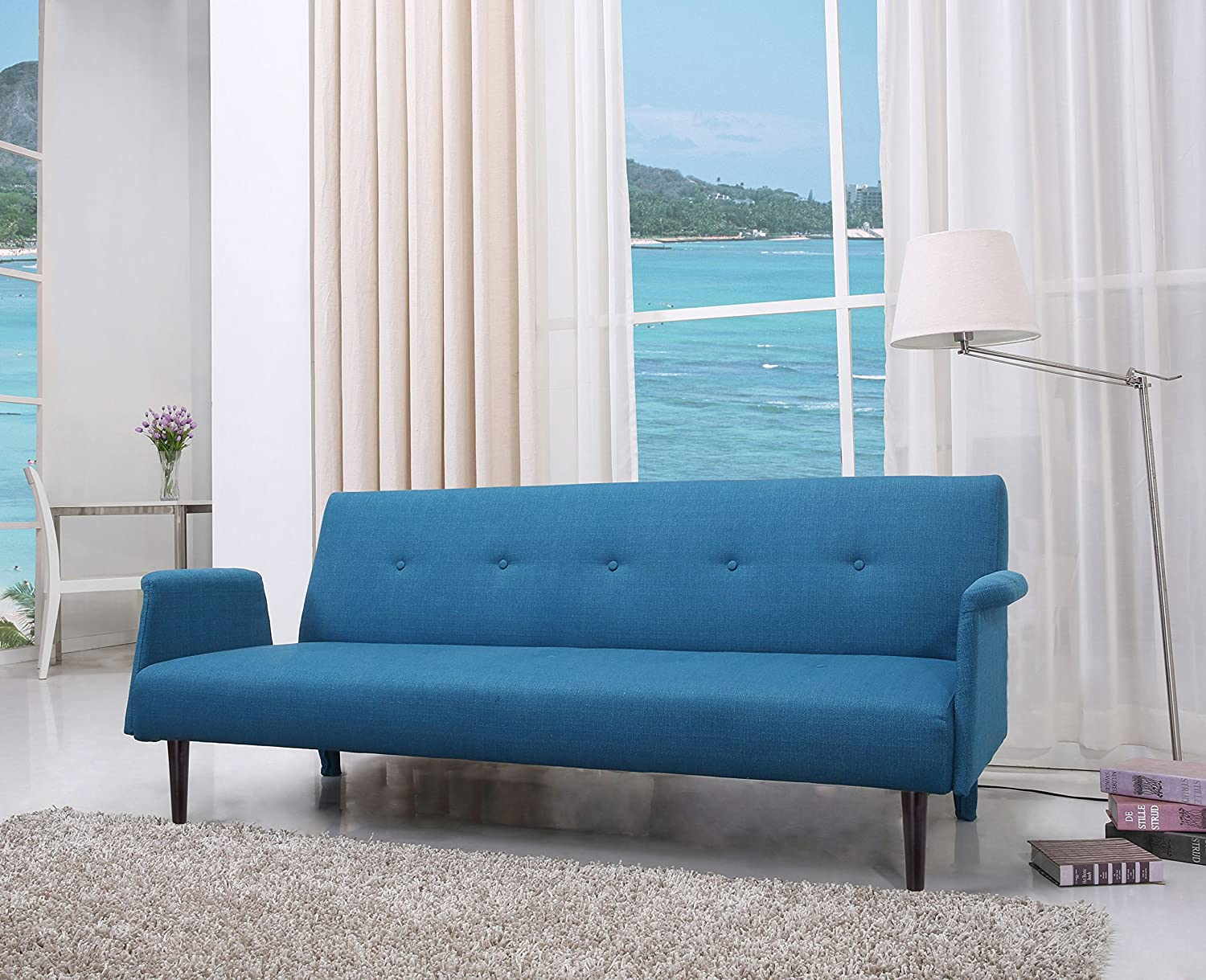 Amazoncom Gold Sparrow Westminster Convertible Sofa Bed Blue