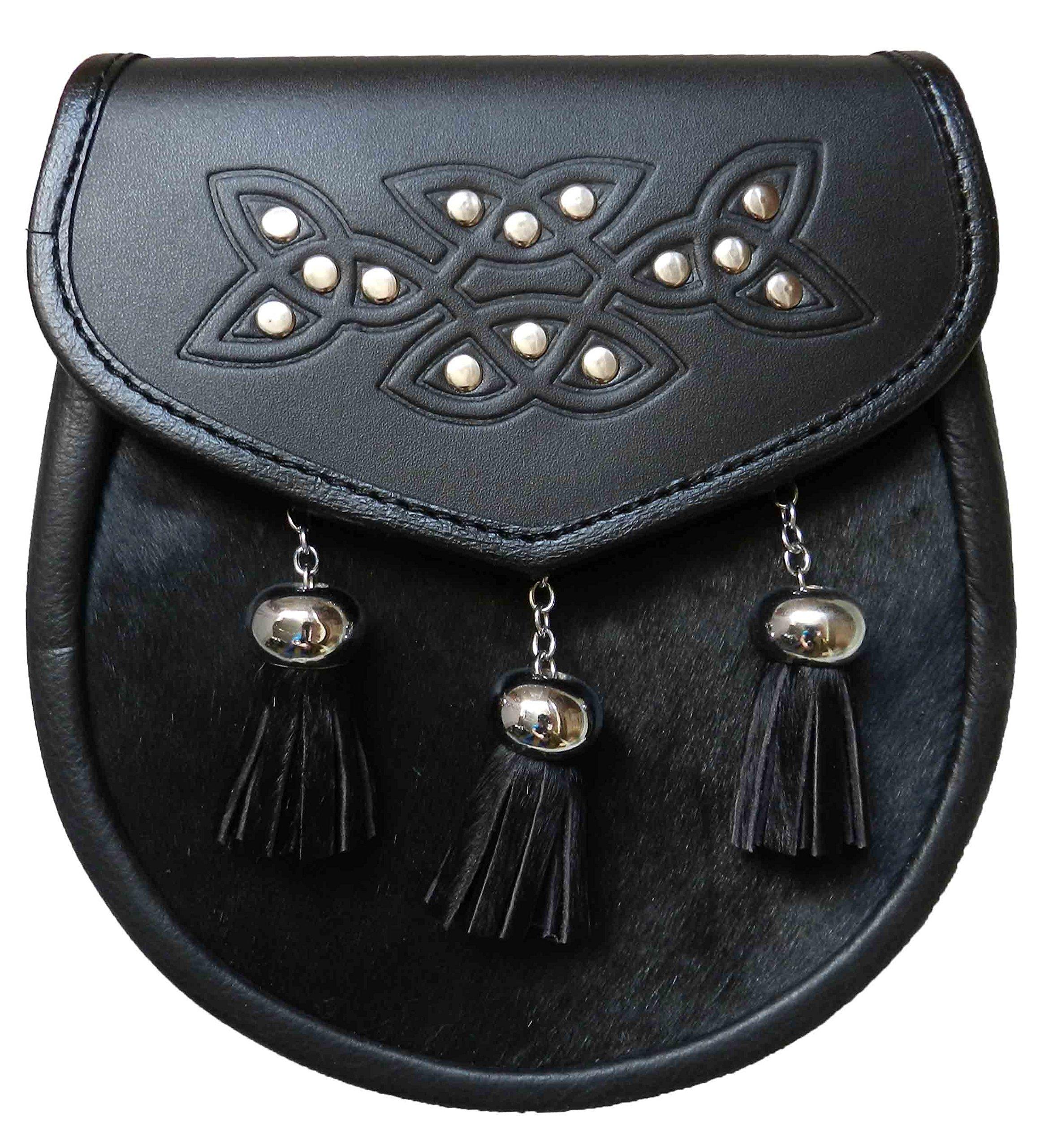 UT Kilts Semi Formal Faux Fur Leather Sporran with Tassels (Black) by UT Kilts