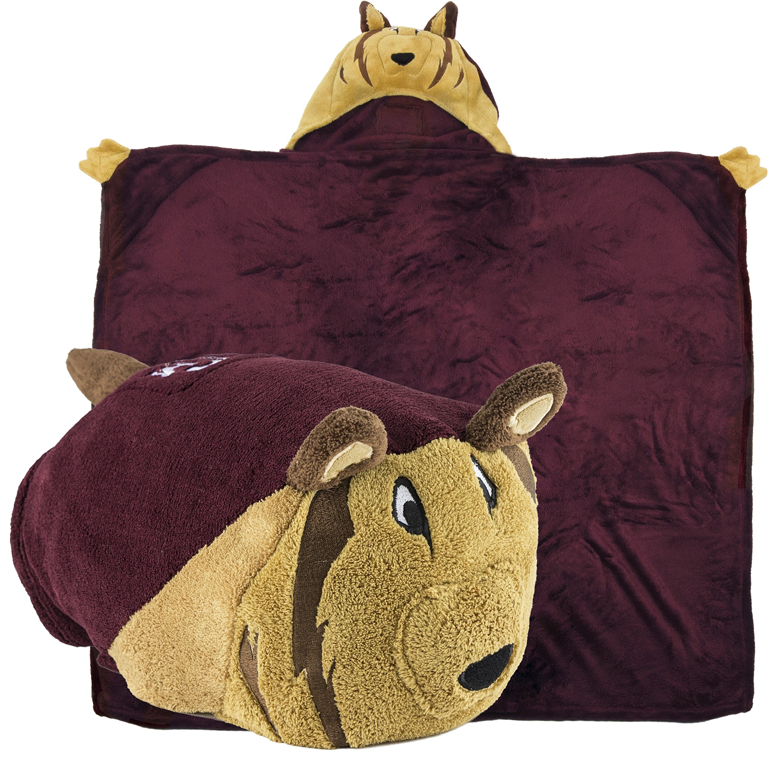 Comfy Critters Stuffed Animal Blanket - College Mascot, Texas A&M University 'Reveille' - Kids Huggable Pillow and Blanket Perfect for The Big Game, Tailgating, Pretend Play, Travel, and Much More