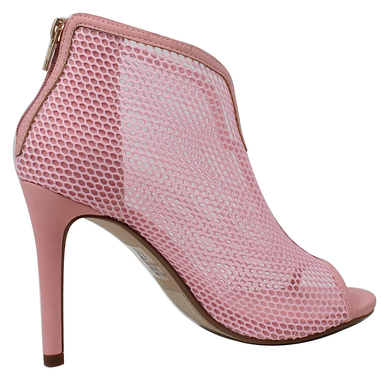 Delicious Womens Open Toe Mesh Stiletto High Heel Ankle Bootie