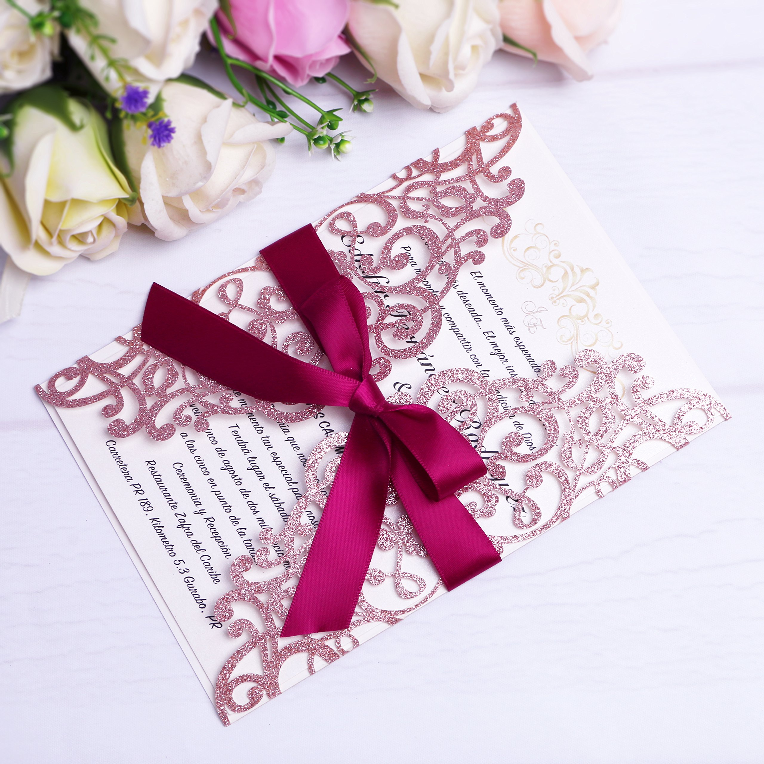 PONATIA 25PCS Laser Cut Hollow rose with drill Invitation Card Wedding Bridal Shower Engagement Birthday Graduation Invitation Cards (Rose Gold Glitter + Burgundy Ribbon)