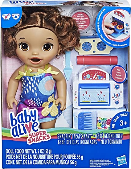 Black Curly Hair Baby Alive Snackin/' Treats Baby Doll
