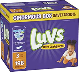 Luvs Ultra Leakguards Disposable Diapers, Size 3, 198 Count, ONE Month Supply