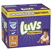 Luvs Ultra Leakguards Disposable Baby Diapers, Size 3, 198 Count, ONE MONTH SUPPLY