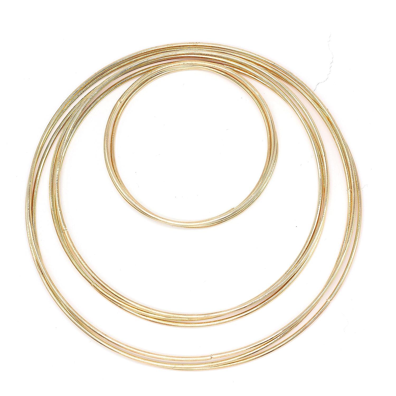 Anelli in metallo Macrame Craft Hoop–9pezzi per ganci Golden Dream Catcher anelli set artigianali 3taglie (7.5in 6.5in 4in) 9-Pack FLORVOGUE MetalRing-3Sizes
