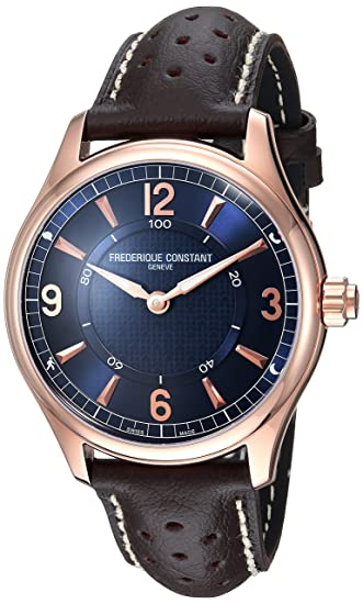 Frederique Constant Hombres del HSW Swiss Quartz reloj Casual de cuero y acero inoxidable