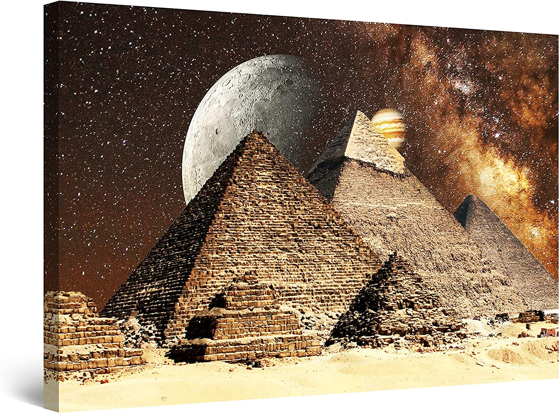 Startonight Canvas Wall Art Decor Egyptian Fantasy on Pyramids Painting for Living Room 32