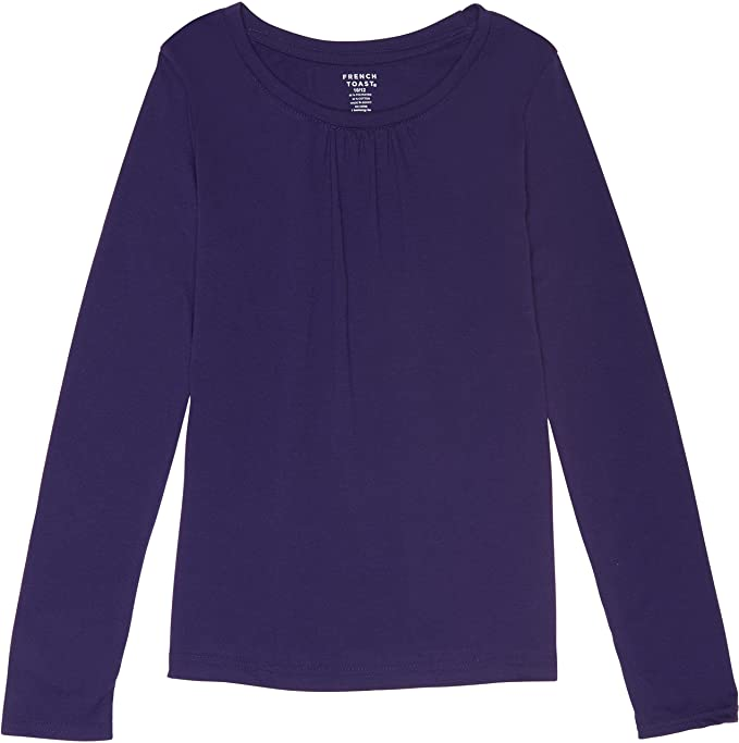 e02423854cf French Toast School Uniform Girls Long Sleeve Crew Neck T-Shirt with Front  Gathers
