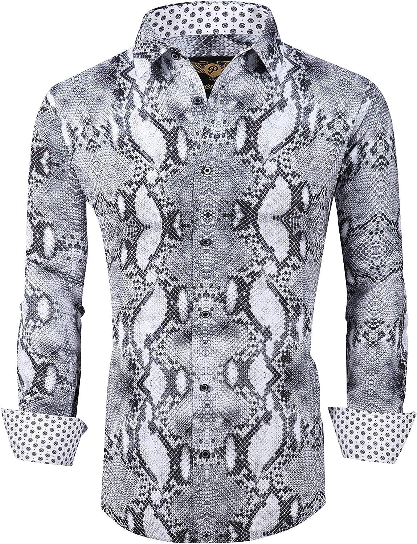 Mens PREMIERE REPTILE SNAKESKIN Long Sleeve BUTTON UP Dress Shirt WHITE BLACK 14