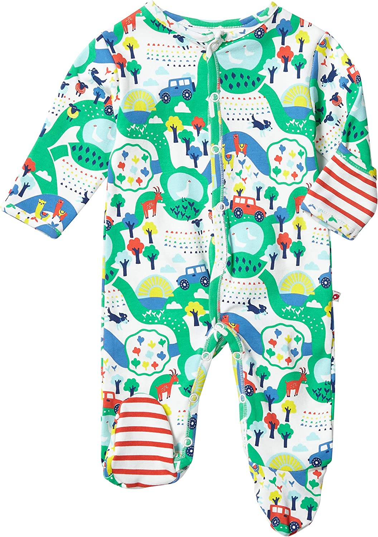 Piccalilly Baby Sleepsuit with Feet Unisex Boys Girls Rainbow Farm Animal