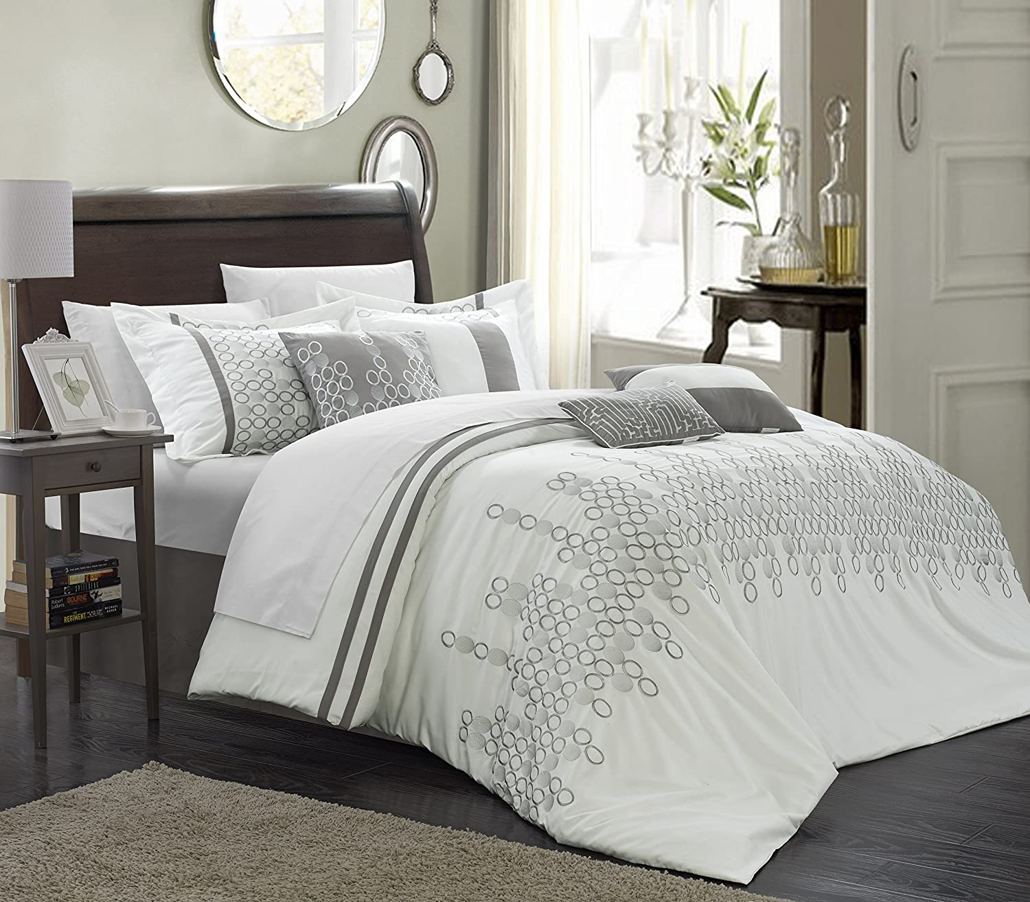 Amazon.com: Chic Home 8-Piece Lauren Contemporary Comforter Set ...