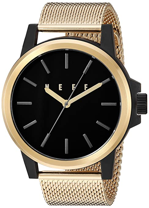 Amazon.com: neff Chinese-Automatic Sport Watch with Alloy Strap, Gold, 25 (Model: GDBKNF0251: Watches
