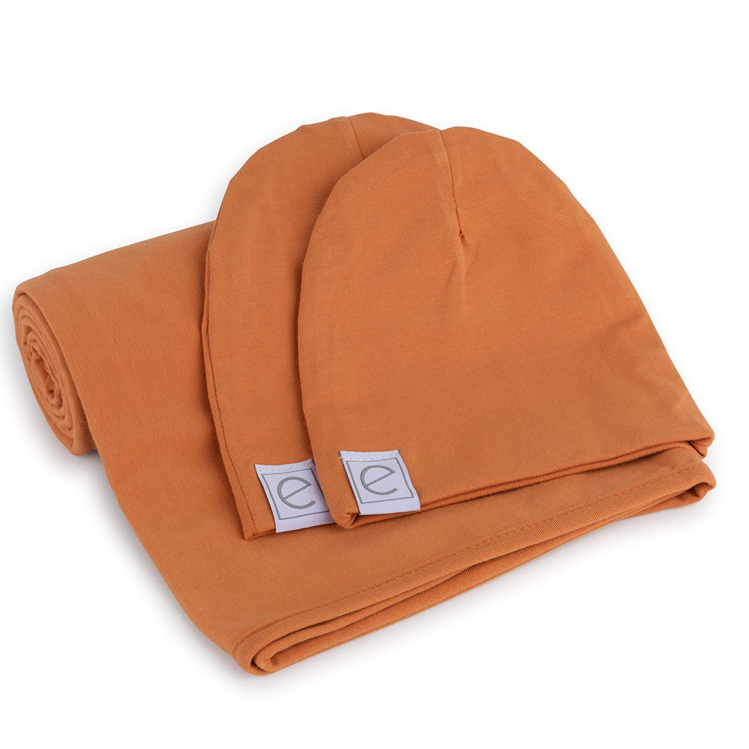 e5be59250 Cotton Knit Jersey Swaddle Blanket and 2 Beanie Gift Set, Large Receiving  Blanket - Butterscotch