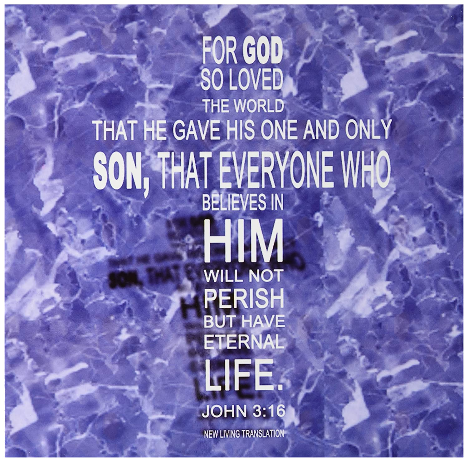 12-Inch 3dRose 777images John 3 16 bible verse in the form of a cross reflected Blue//Grey Granite Tile