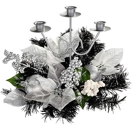 Centrotavola Natalizi Amazon.Werchristmas Decorazione Natalizia Candeliere Per 3 Candele
