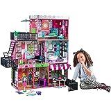 KidKraft 65922 Brooklyn's Loft Puppenhaus aus Holz mit Zubehör für 30cm große Puppen mit 25 Accessoires und 3 Spielebenen