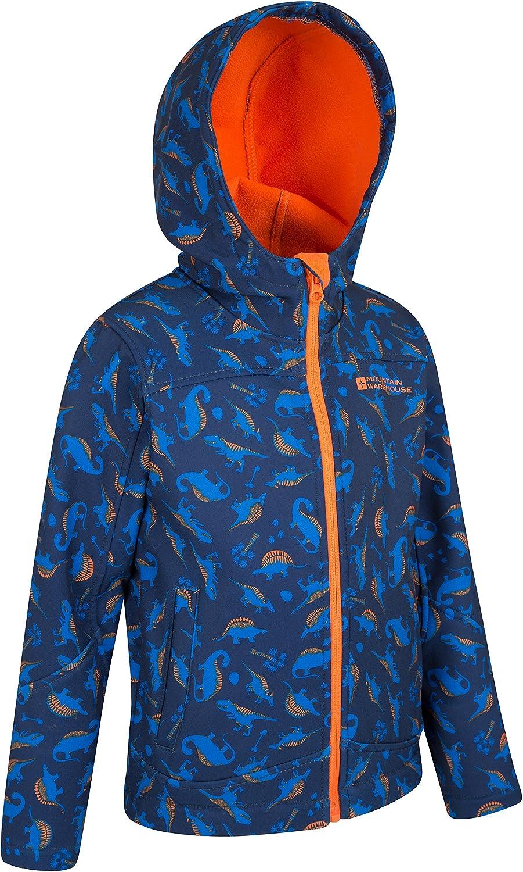 Breathable Hoodie Jacket Water Resistant Rain Jacket Wind Resistant Shell Jacket Mountain Warehouse Exodus Kids Printed Softshell Jacket Travelling Dark Blue 2-3 Years for Winter