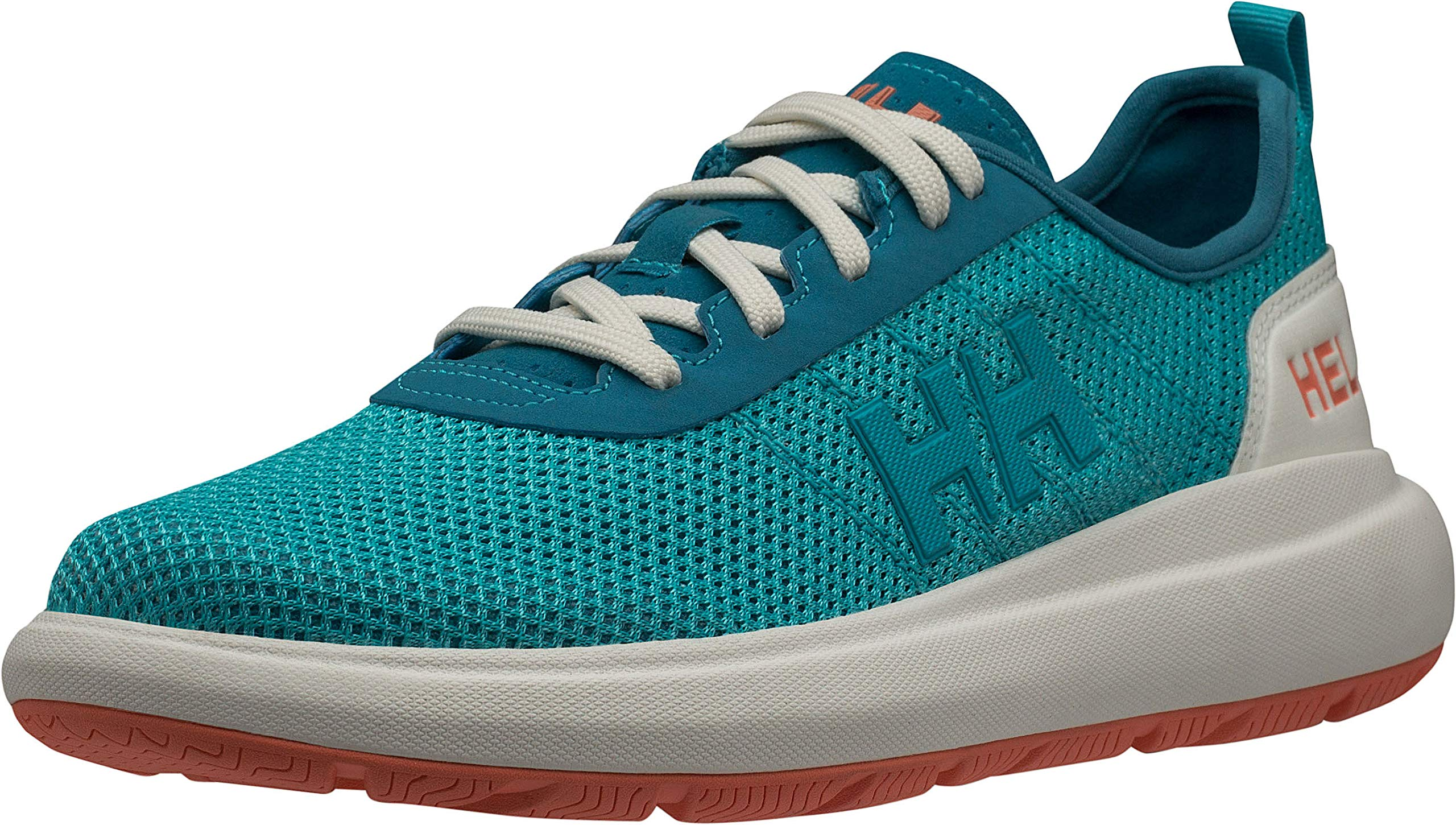 Helly Hansen Women's Spindrift Sailing Deck Shoe, Aqua Marine/Fusion Coral/Off White, 7.5 by Helly Hansen