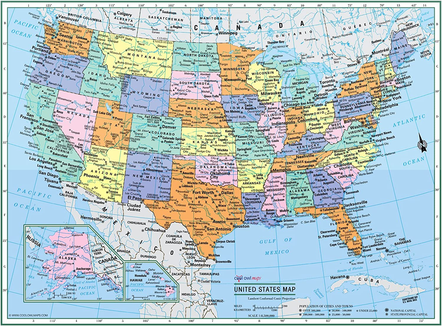 Amazon Com Cool Owl Maps United States Wall Map Political Usa Color Poster 32 X24 Large Type Rolled Paper 2020 Office Products