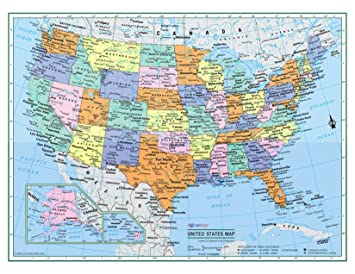 Political Map Of Usa 2015.2015 United States Wall Map Political Usa Poster 81x61cm 32x24