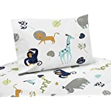 Sweet Jojo Designs 4-Piece Turquoise and Navy Blue Safari Animal Queen Sheet Set for Mod Jungle Collection set